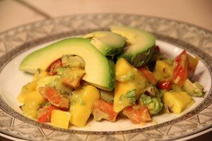 Avocado and Geoduck Salad with Fruit Salsa
